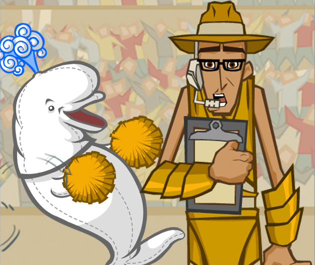Atlantean Dodgeball animation scene with coach and mascot